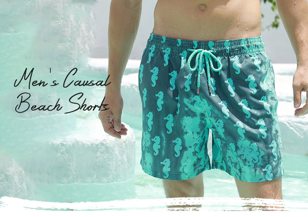 Temperature Color Changing Beach Pants Encountered Water Color Changing Big Shorts - Adult Geometry Mint Green XL