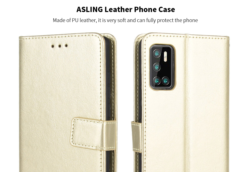ASLING PU Leather Cover with Holder Wallet Card Storage Phone Case for Cubot P40 - Red