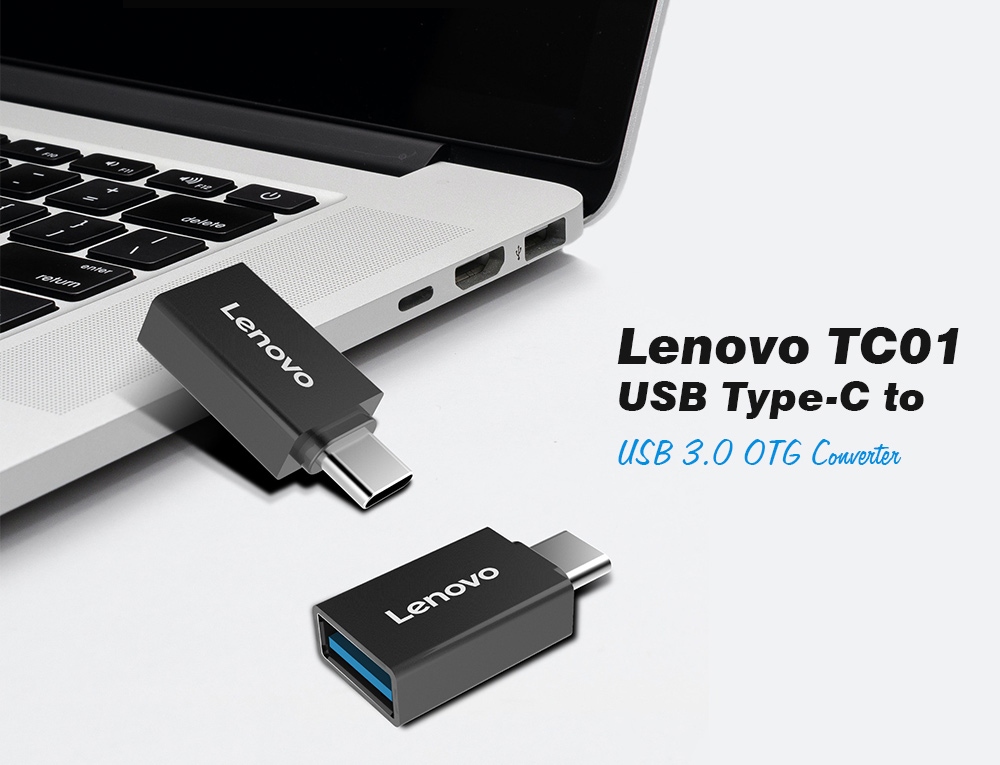 Lenovo TC01 Mobile Phone Adapter USB Type-C to USB 3.0 OTG Converter - Black
