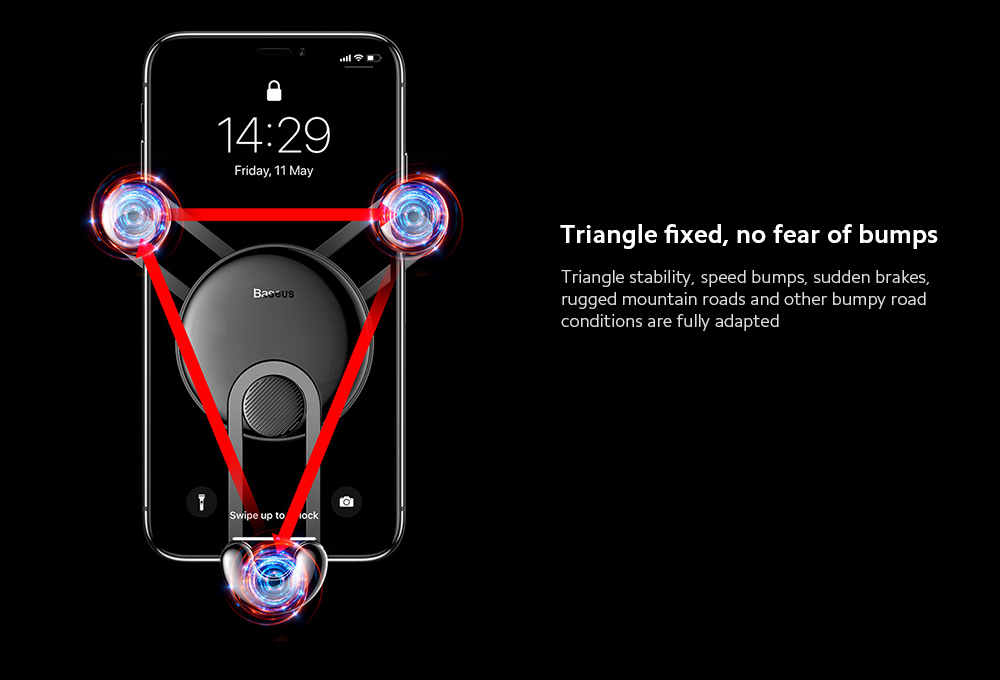 Baseus SULYY-01 YY Mobile Phone Car Bracket Comes with Charging Cable Air outlet Smartphone Navigation Holder Creative Gravity Stand - Red 8 Pin Version