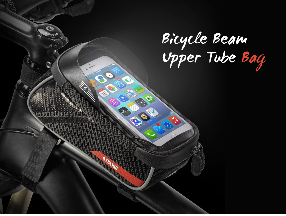 Cycling Front Package Anti-skinned Mobile Phone Bicycle Beam Upper Tube Bag - Black