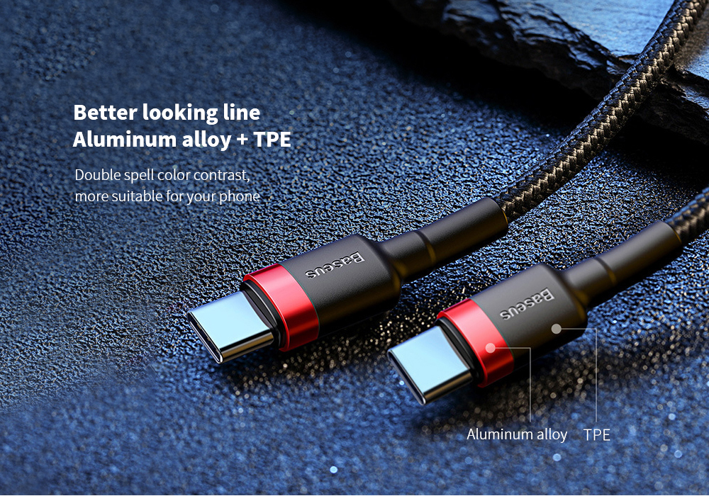 Baseus Kafule Series Type-C PD2.0 60W Flash Charging Data Cable (20V 3A) Mobile Phone Data Line - Multi-C 2M