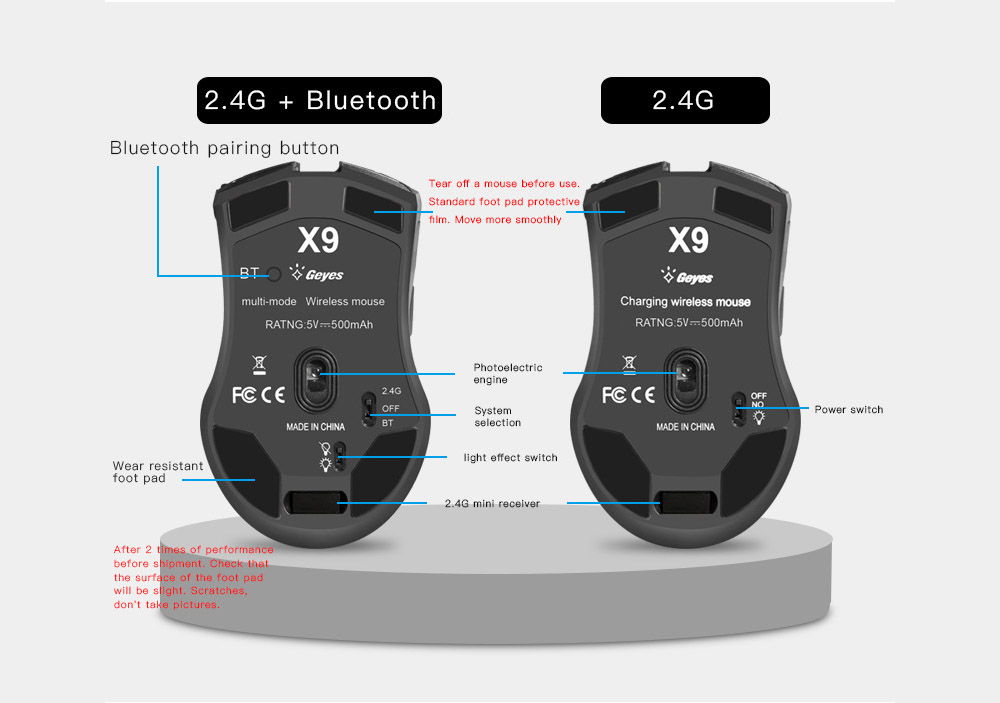 X9 Wireless Bluetooth Mouse Charging Dual-mode Three-speed DPI Silent Mute Mouse for Notebook Desktop Computer Game Office - Black
