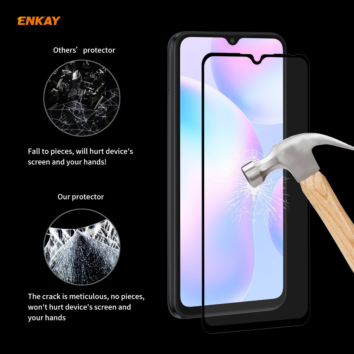 Enkay Straw Hat Prince Screen Protector for Huawei P40 Lite/Huawei P40/Redmi 9/9A/9C/Redmi 10X 5G/Xiaomi 10 Lite/Redmi 10X 4G/Redmi Note 9 - Black for Redmi 9 / 9A / 9C