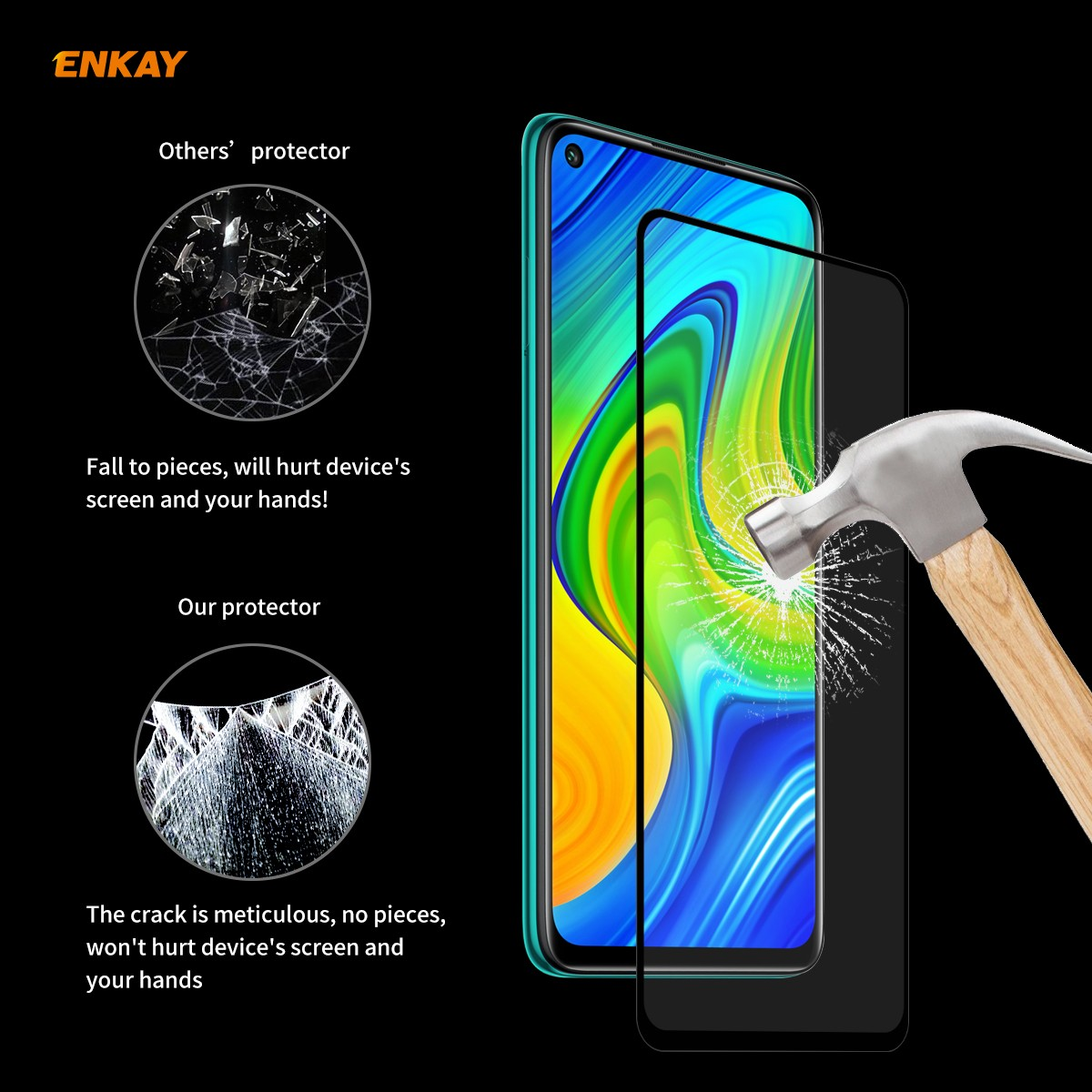 Enkay Straw Hat Prince Screen Protector for Huawei P40 Lite/Huawei P40/Redmi 9/9A/9C/Redmi 10X 5G/Xiaomi 10 Lite/Redmi 10X 4G/Redmi Note 9 5PCS - Black for Redmi 10X 4G / Redmi Note 9