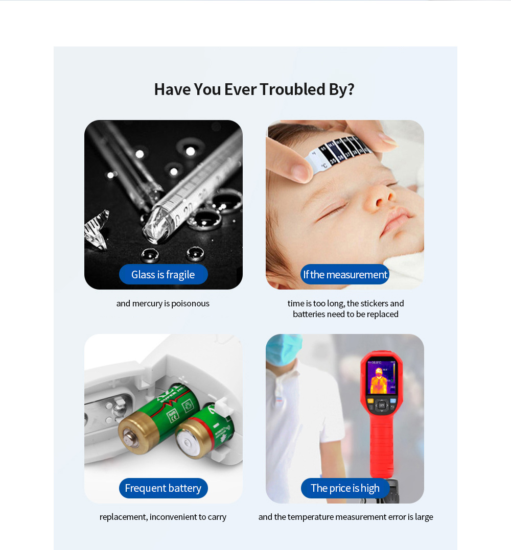 EM-T01/ EM-T02 APP Smart Thermometer USB Baby Forehead Temperature Home Data Sharing Thermometer Voice Broadcast - White 8 pin interface-IOS system