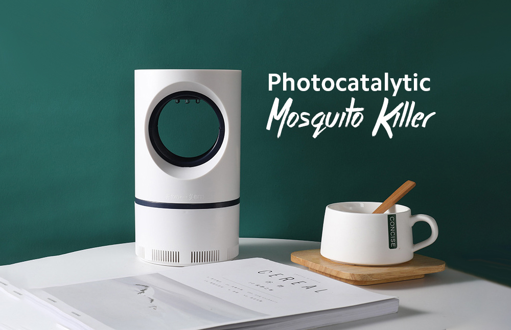 Photocatalyst Mosquito Killer Lamp Household Indoor Inhalation Mosquito Lamp Silent Mosquito Repellent for Pregnant Women and Babies - White Large 22x13cm