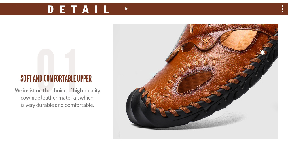 Summer Men's Sandals Casual Shoes Men's Trend Large Size Men's Shoes Outdoor Casual Buckle Sandals - Red Brown 45