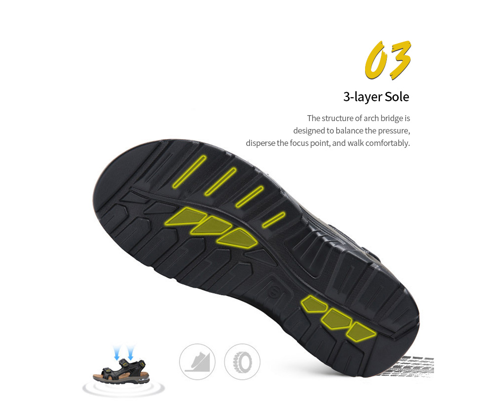 Summer Beach Shoes Men's Appearance Leather Sandals Soft Bottom Anti-slip Breathable Hollow Outdoor Casual Shoes Large Size Hiking Shoes - Light Brown 40