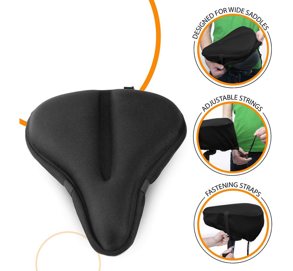 Bicycle Silicone Saddle Cushion Cover - Black