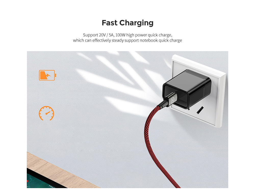 KUULAA KL-X30 Magnetic Data Cable 100W Zinc Alloy Type-C to Type-C High Power Magnetic Line - Multi 1M