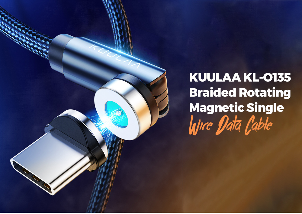 KUULAA KL-O135 Braided Rotating Magnetic Single Wire Data Cable 360+180 Degree Double Rotation for Apple Android Type-C - Black 1M