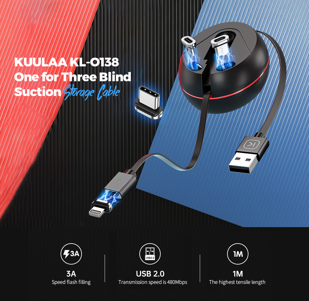 KUULAA KL-O138 One for Three Blind Suction Storage Cable Cool Appearance for 8-pin Type-C USB 2.0 - Black