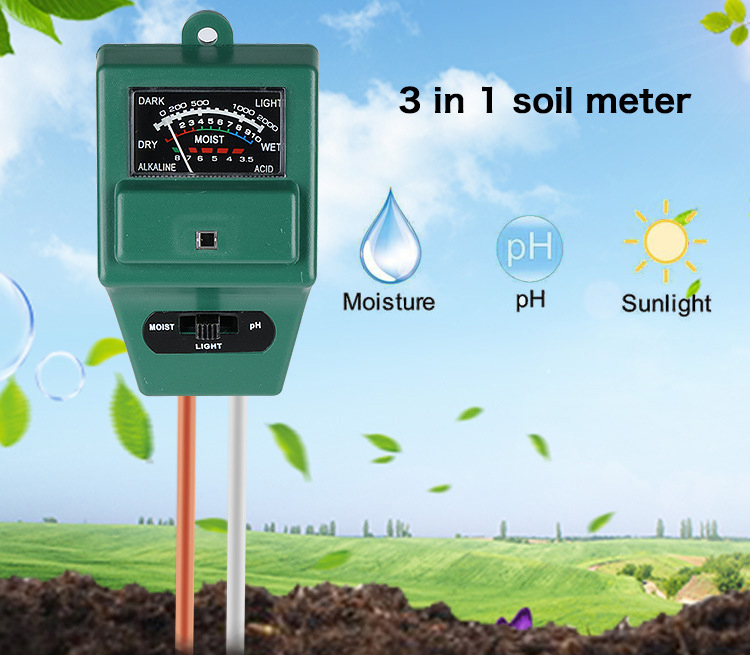 FXP003 Three-in-one Horticultural Soil Tester Soil Detector Soil Humidity / Light Weight / Acidity Meter PH - Green