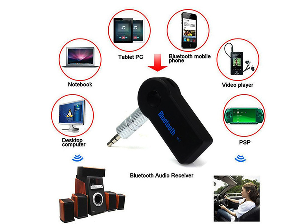2 in 1 Wireless Bluetooth 5.0 Receiver Transmitter Adapter - Black