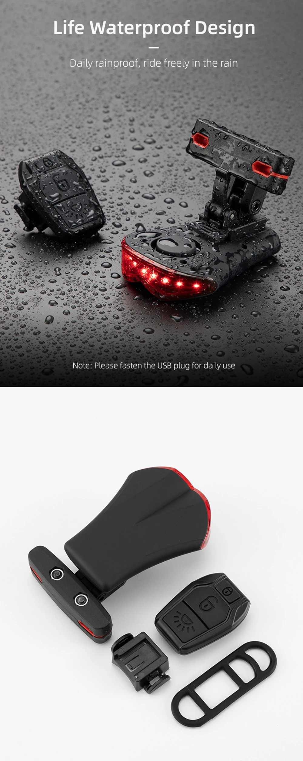 2-in-1 8 LEDs Wireless Remote Control Bike Taillight - Black