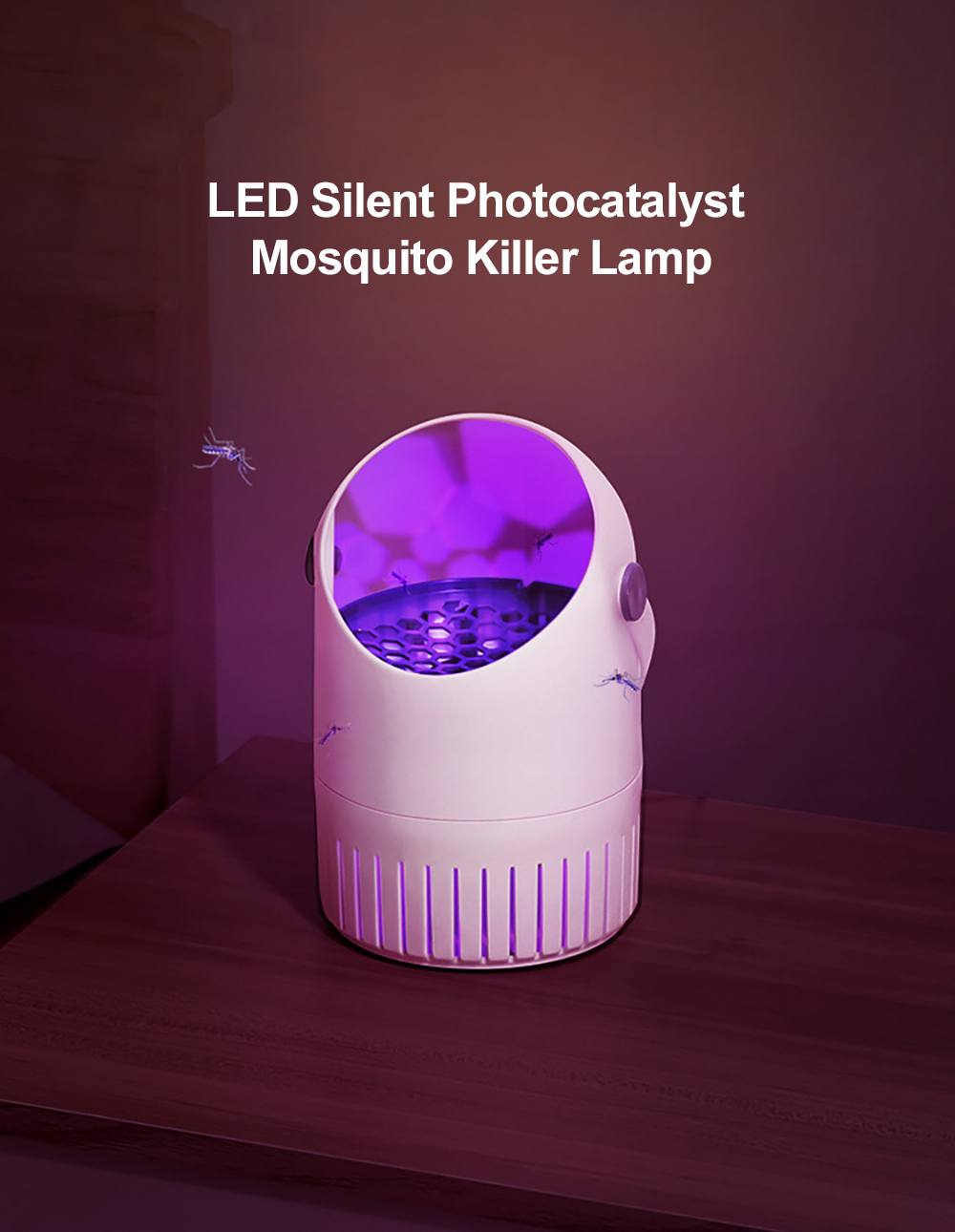 JY-888 Mosquito Repellent Light USB Power Supply LED Mute Photocatalyst Mosquito Killer Lamp - Black Not Wall-mounted