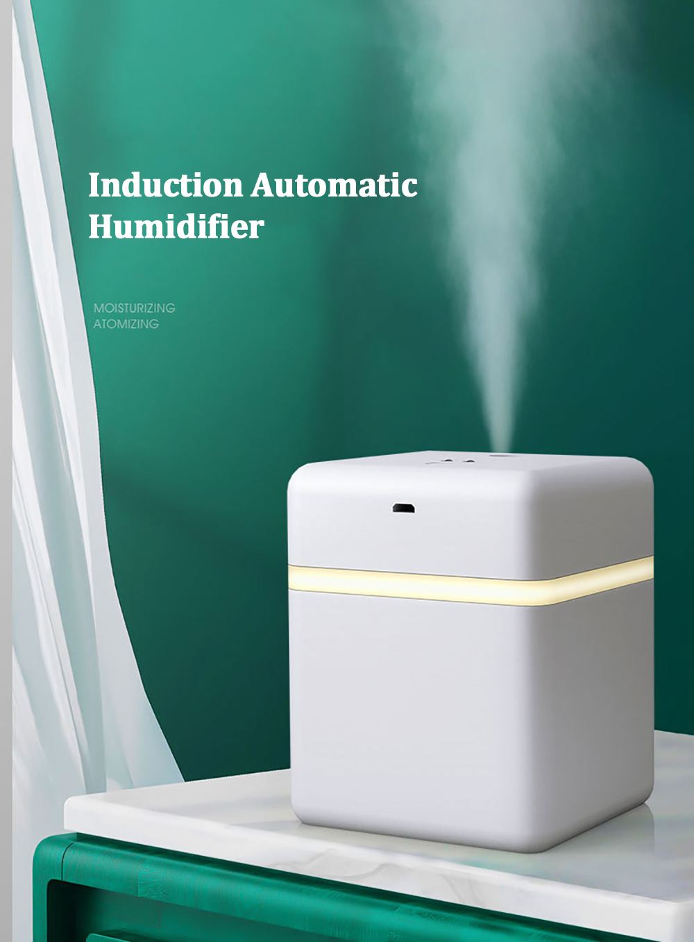 T3 Alcohol Sterilizer Induction Automatic Sprayer Hand Cleaner Atomizing Humidifier - White