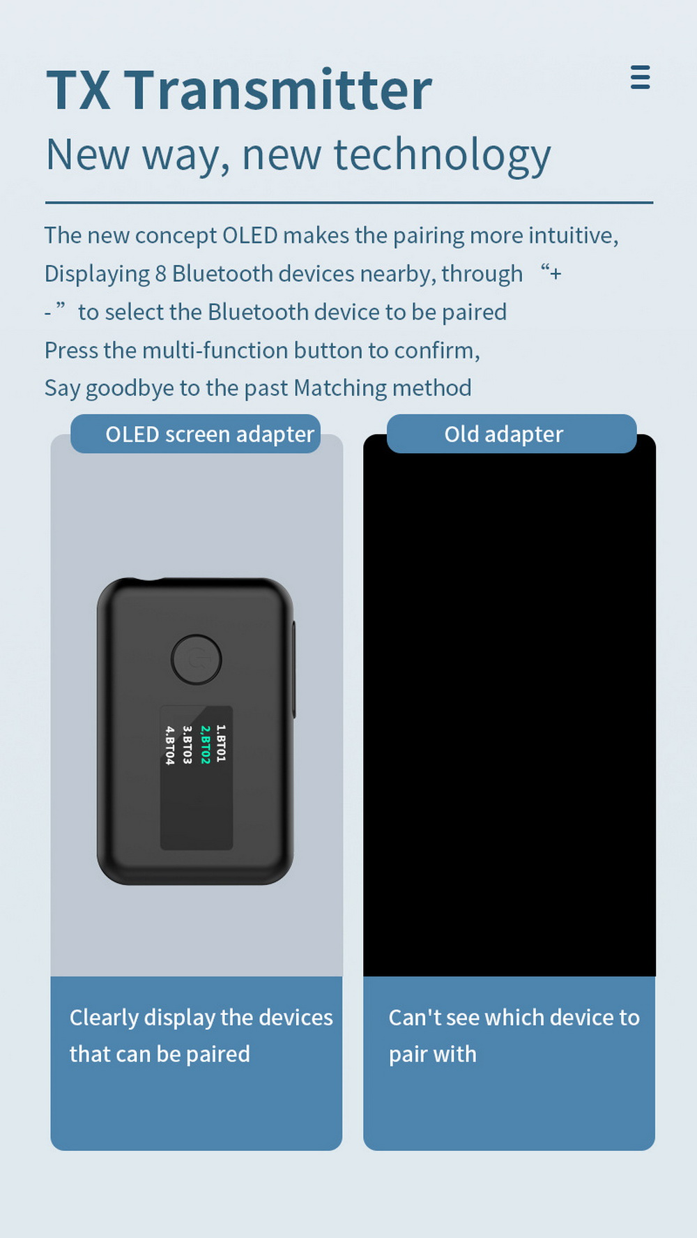 YET-T2 OLED Color Screen Bluetooth 5.0 Adapter - Black