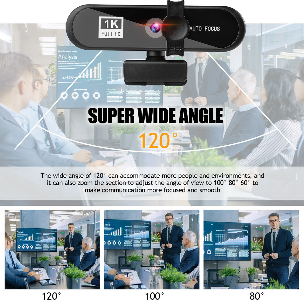 8802 PC Camera Webcam with Mic - Black 1k