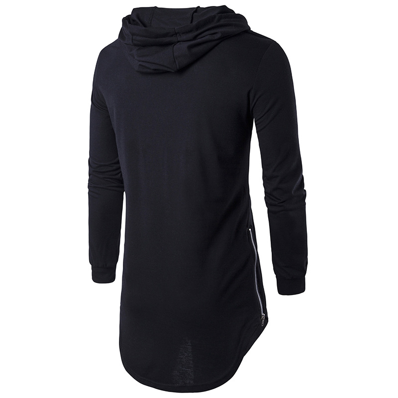 SYLYQ 127 High-end Street Style Solid Color Men Hooded T-shirt Sweatshirt - Black L