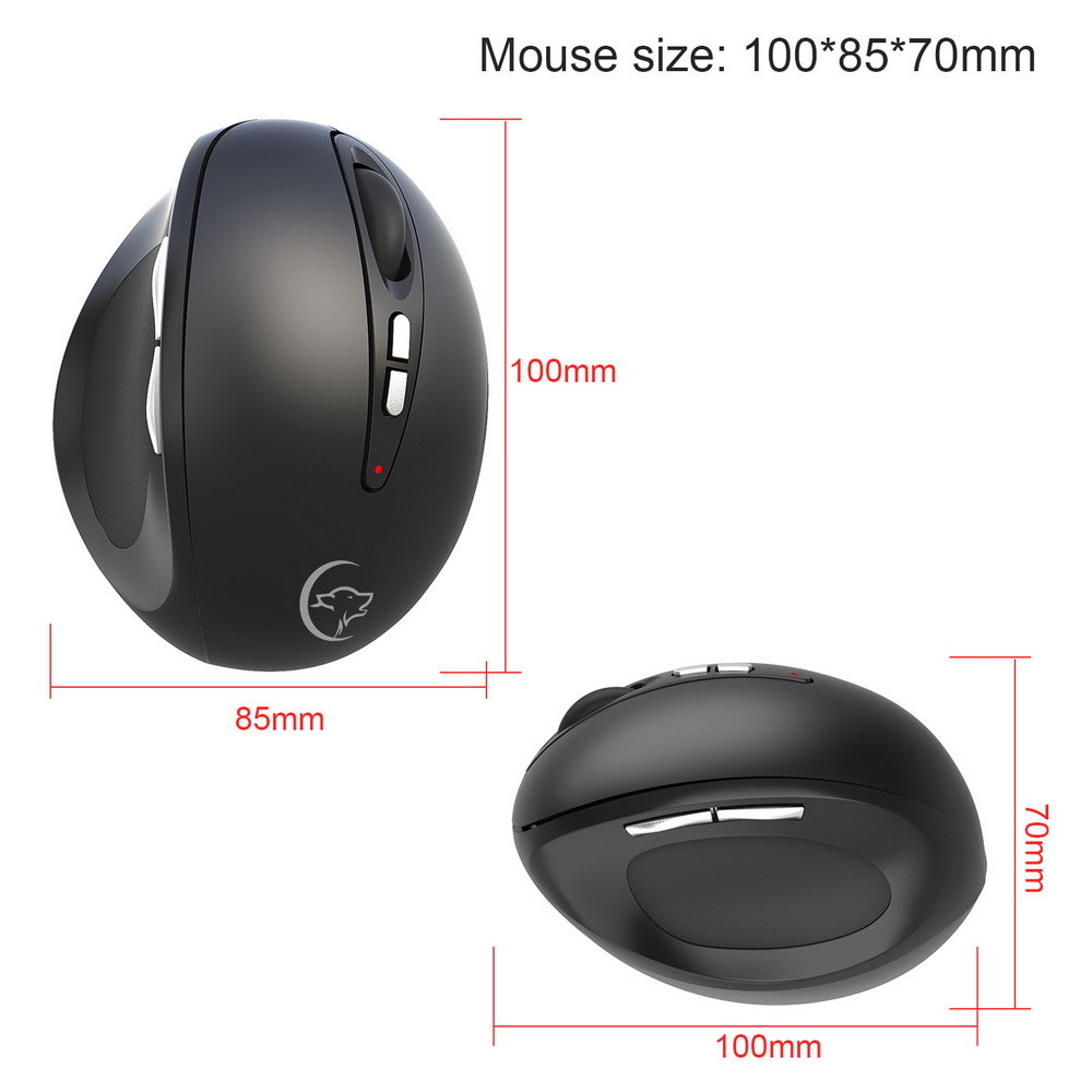 YWYT G836 Wireless Optical Vertical Gaming Mouse - Black