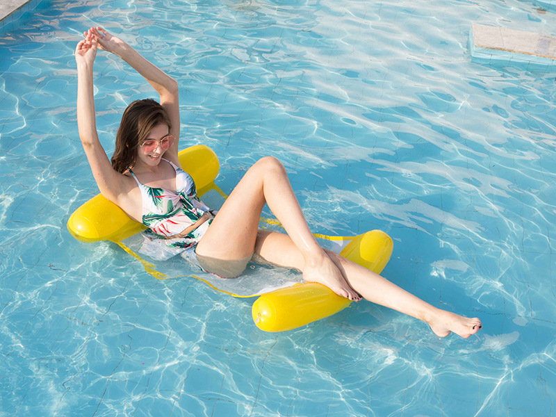Inflatable Lounge Chair Folding Back Inflatable Floating Hammock - Pink