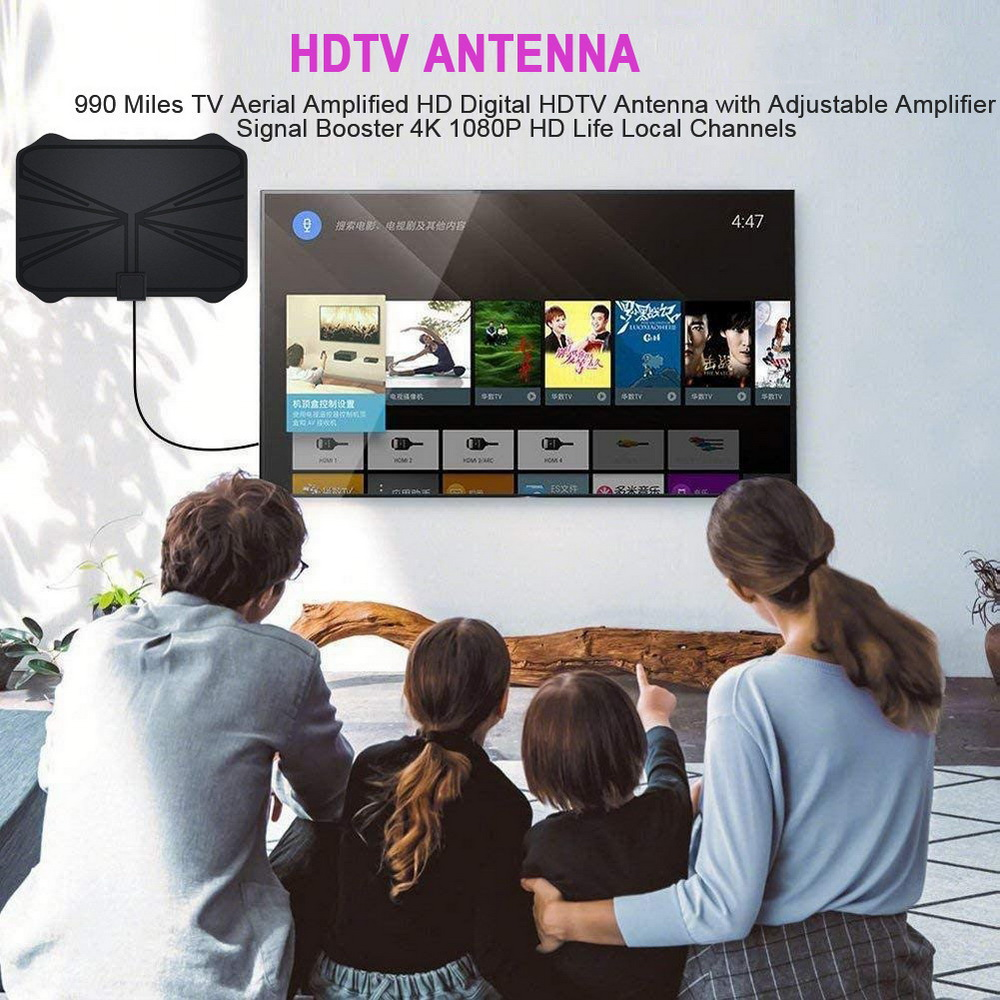 990 Miles HD Digital HDTV TV Antenna - Black