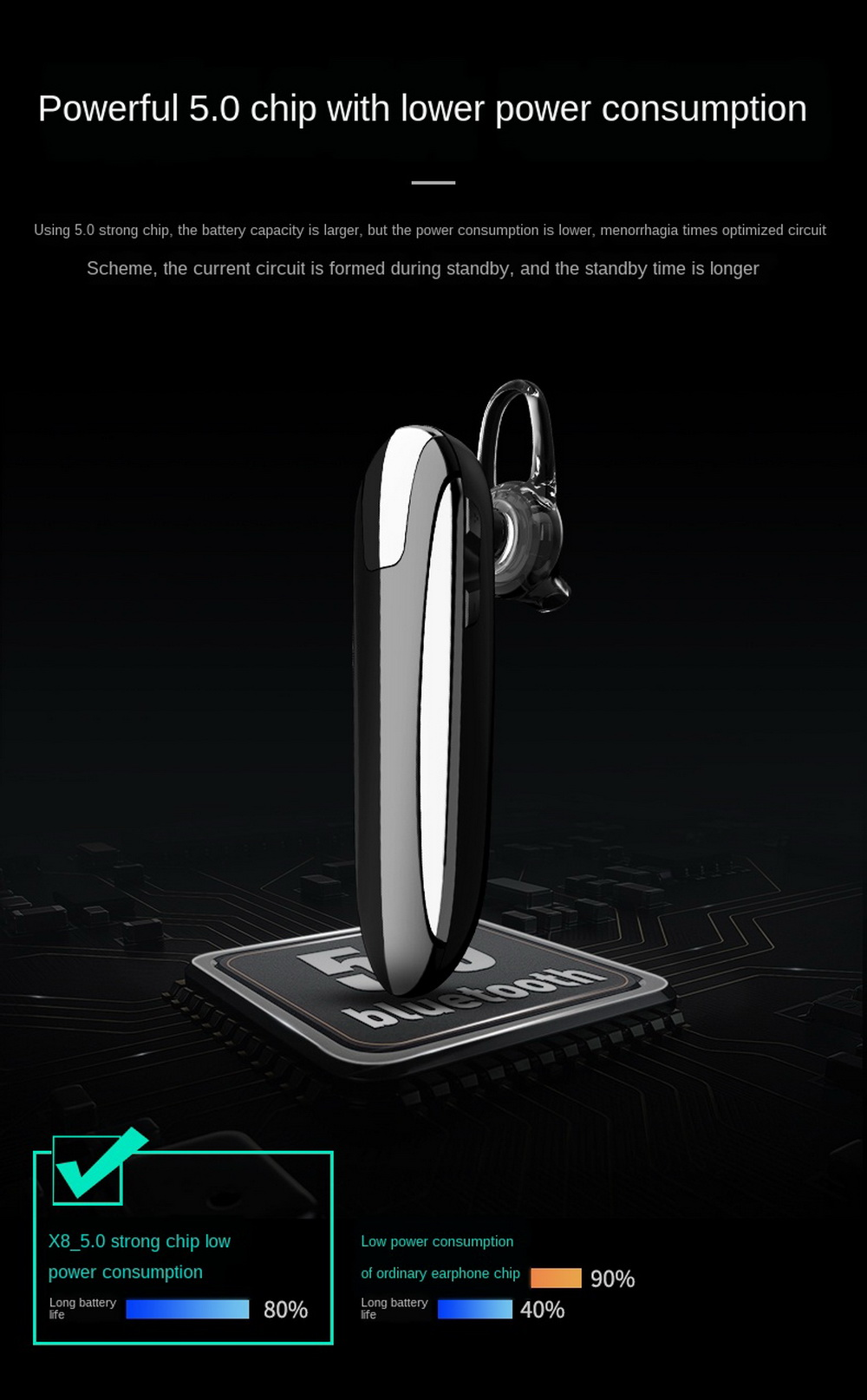 X8 Wireless Bluetooth Headphone - Black