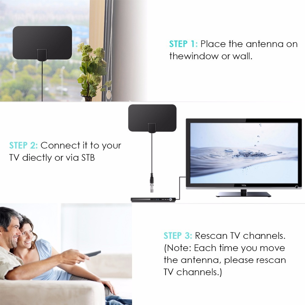 Mini Indoor TV Digital HDTV HDTV-T2 Antenna - Black