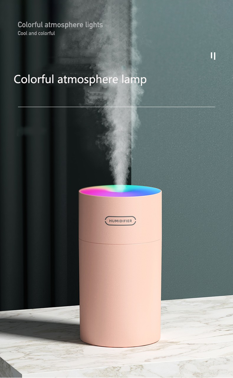 DQ108 / DQ107 Colorful Cup Second Generation Air Humidifier USB Colorful Night Light Home Silent Air Purification Humidifier - Pink DQ-108