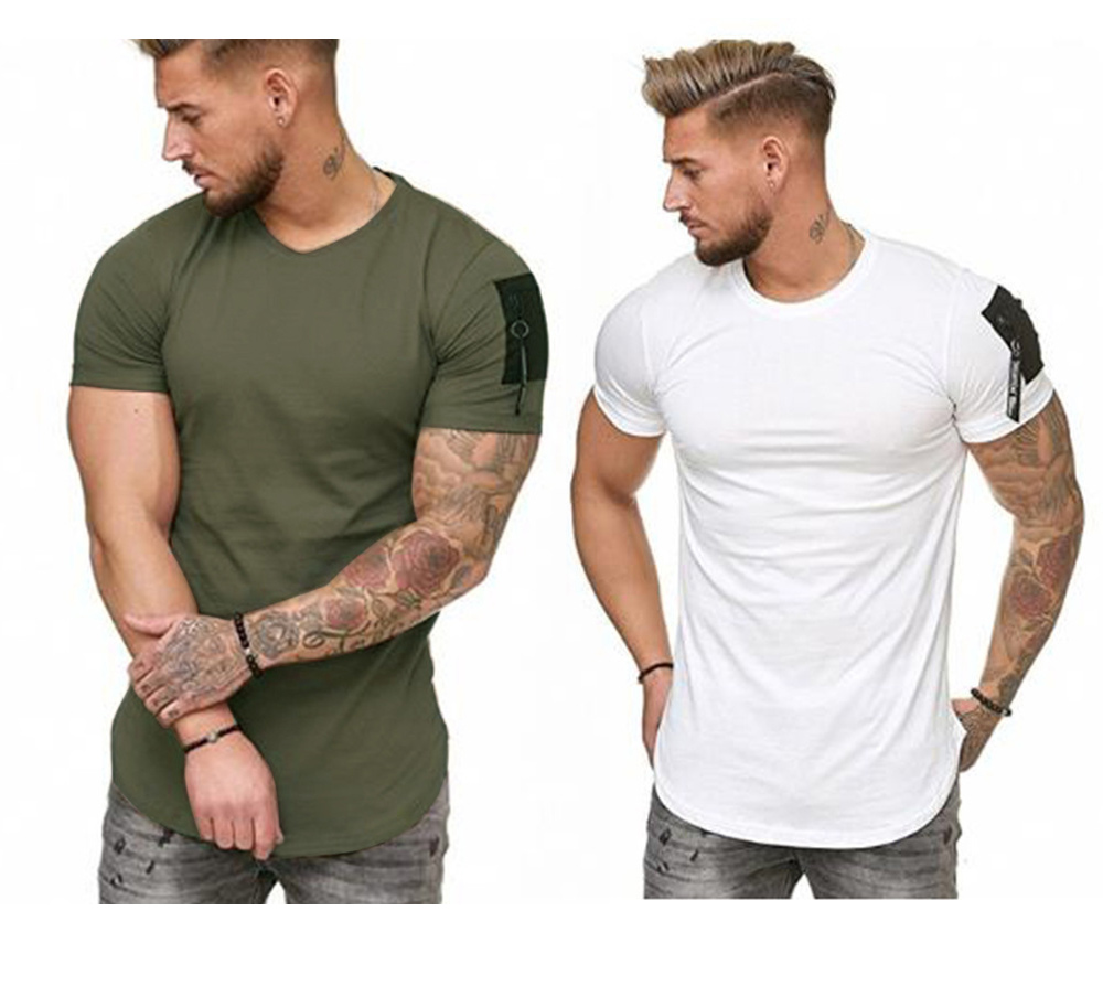 Summer European and American Men Shoulder Arm Pockets Splicing Large Size T-shirt Male Casual Sports Tops - White M