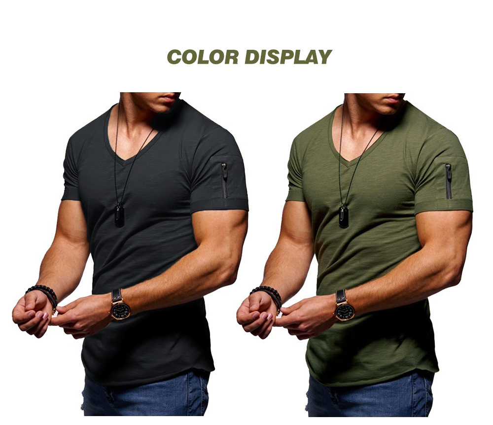 Large Size Men Casual Short Sleeve European and American Trend V-neck T-Shirt - Army Green L