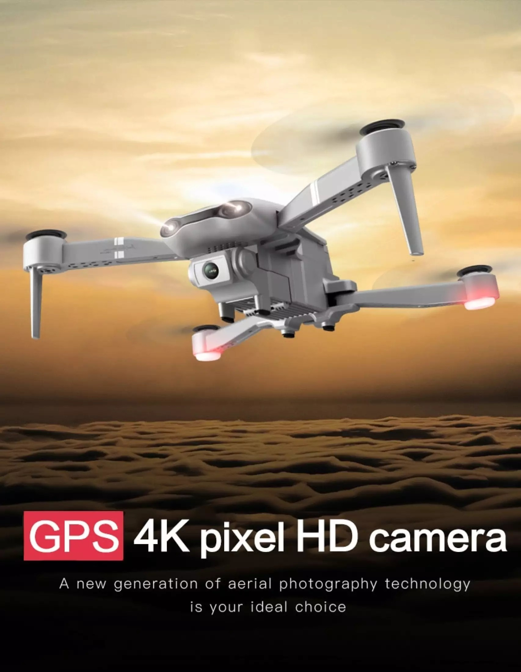 F3 4K Folding GPS RC Quadcopter  Drone - Gray Optical Flow 1080P Aerial Photography
