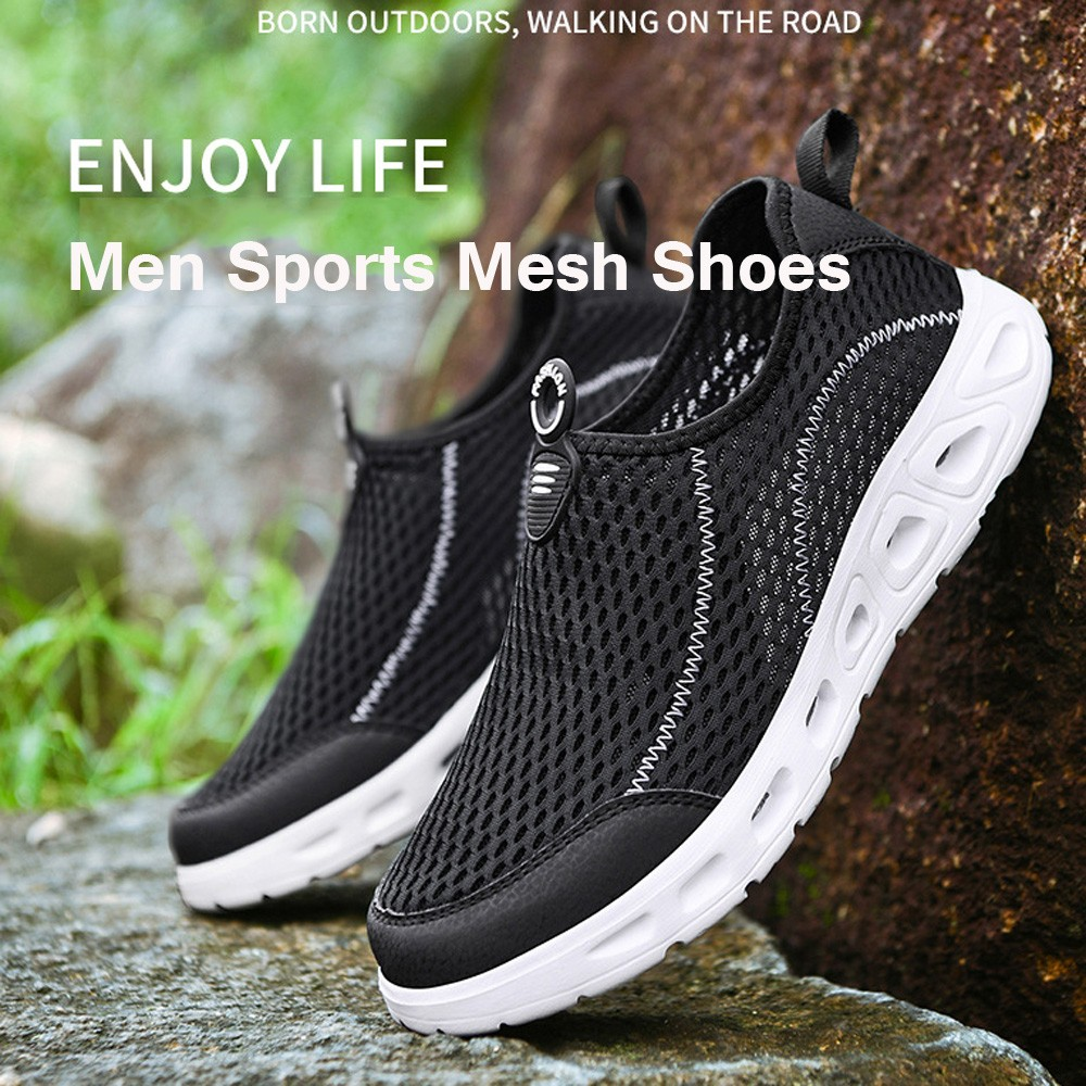 Men Sports Mesh Shoes Large Size Breathable Lightweight Casual Footwear Fashion Hollow Shoes - Blue EU 40