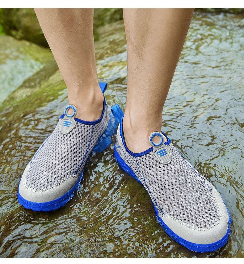 Men Sports Mesh Shoes Large Size Breathable Lightweight Casual Footwear Fashion Hollow Shoes - Blue EU 39