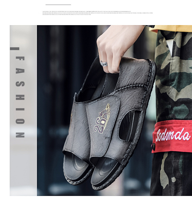 Large Size Sandals Men Summer Breathable Beach Shoes Hollow Sewing Outdoor Casual Shoes - Khaki EU 46