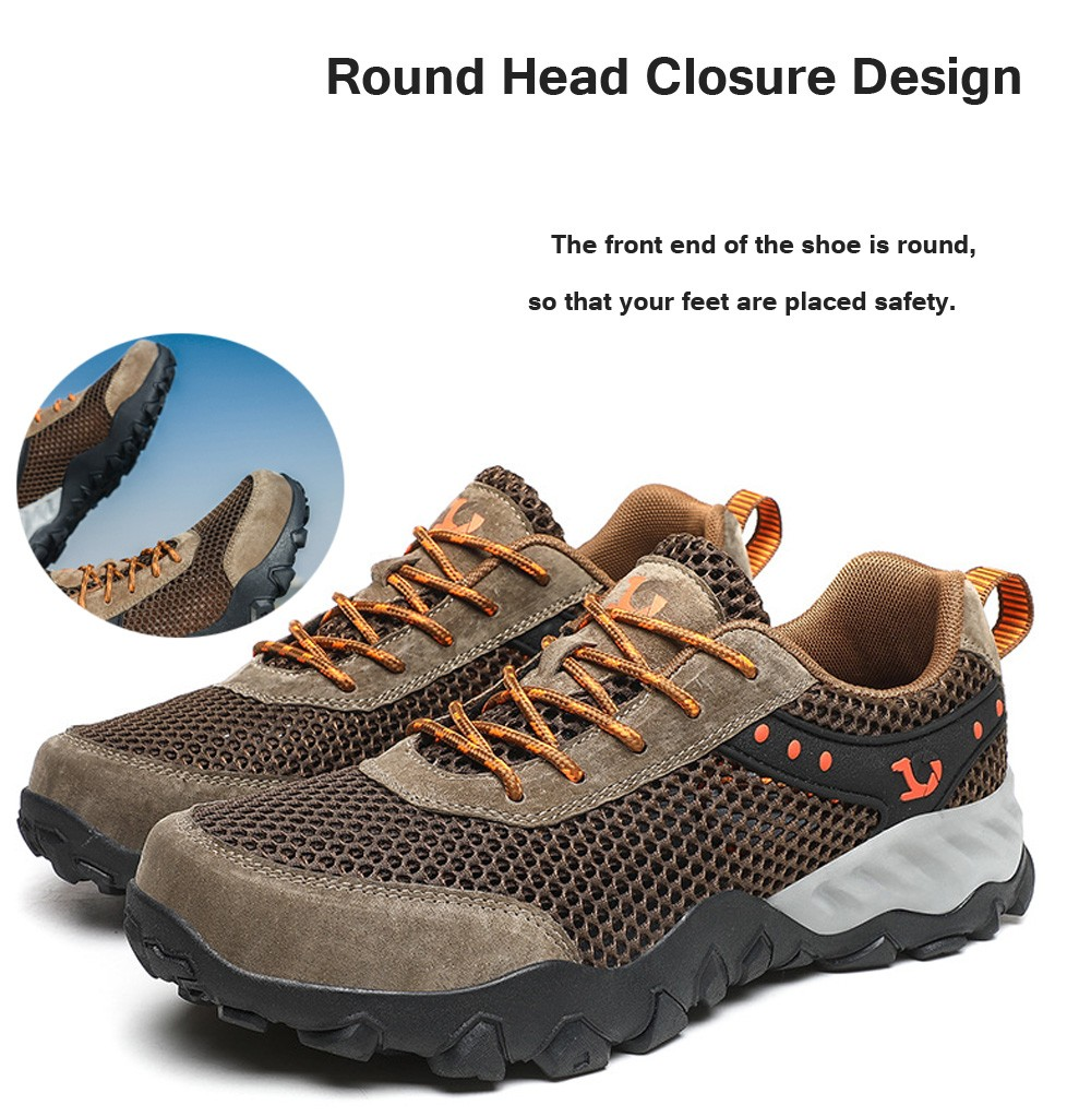 Large Size Men Shoes Fashion Trend Outdoor Running Hiking Footwear Breathable Mesh Wading Shoes - Black EU 39