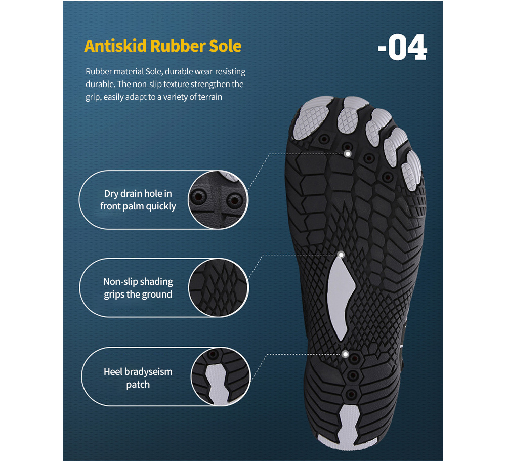 Outdoor Five Finger Upstream Shoes Beach Diving Quick-drying Swimming Footwear Non-slip Wading Mountaineering Sports Men Shoes - Yellow EU 42