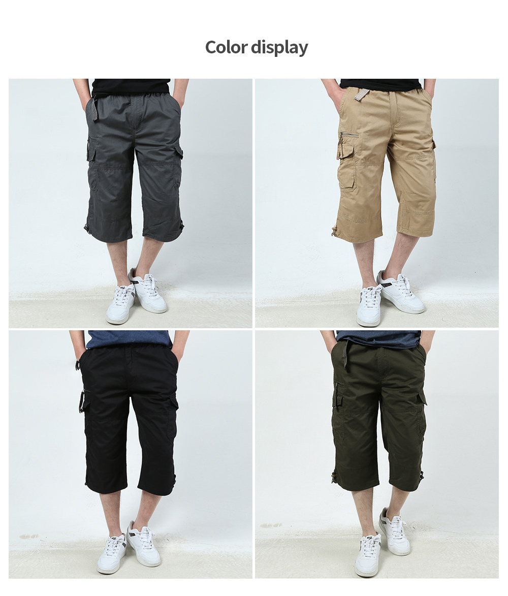 Summer Outdoor Multi-pocket Tooling Shorts Men Plus Size Sports Casual Cropped Pants Thin Trousers - Black 5XL
