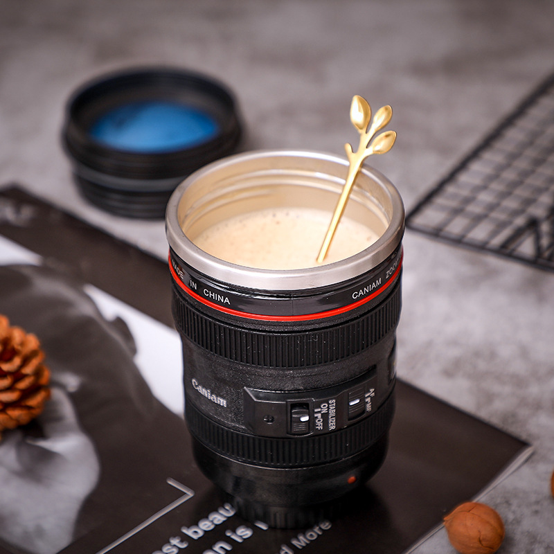 SLR Camera Lens Water Cup Couple Boys Handy Cup Personalized Stainless Steel Leak-proof Coffee Cup - Black