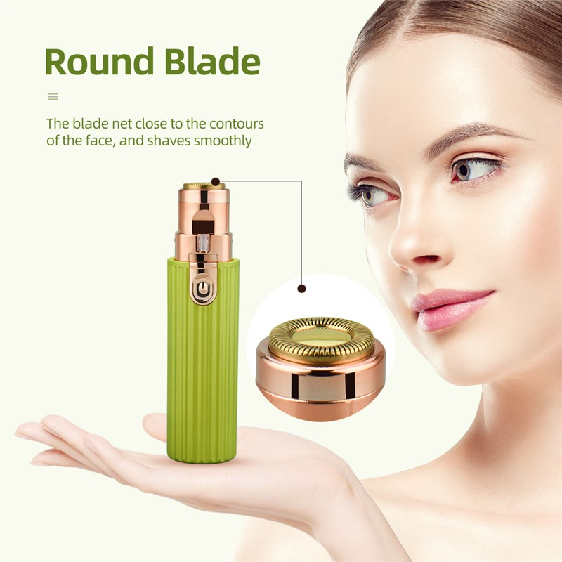 207B 2-in-1 Multifunctional Epilator USB Electric Shaver Rechargeable Double-head Lipstick Lady Shaving Knife - Avocado Green