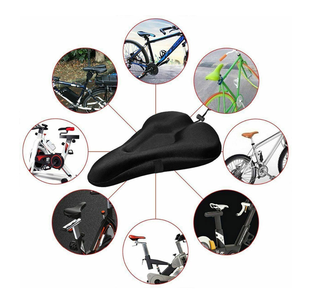 Bicycle Thickened Saddle Silicone Cushion Seat Cover - Black