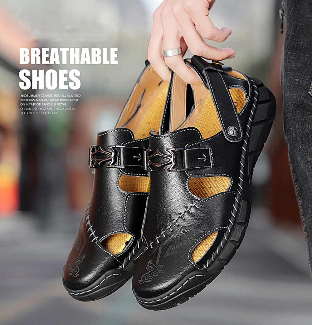IZZUMI 801 Large Size Men Casual Two-purpose Leather Sandals Breathable Cool Towing Outdoor Beach Shoes - Brown EU 48