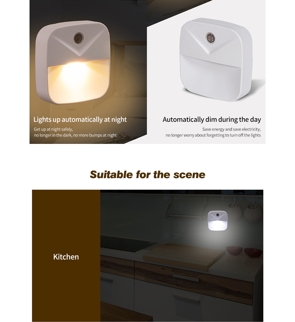 Intelligent Induction Bedside Lamp New Strange Creative Gift LED Light Plug Energy-saving Light Control Night Light - White EU Plug White light