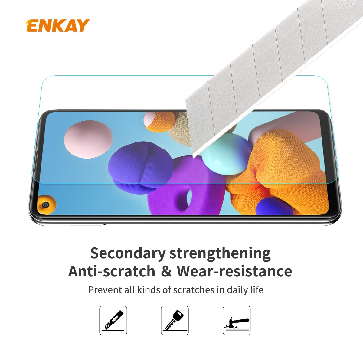 ENKAY Tempered Glass Protective Film for Samsung Galaxy A21s - Transparent