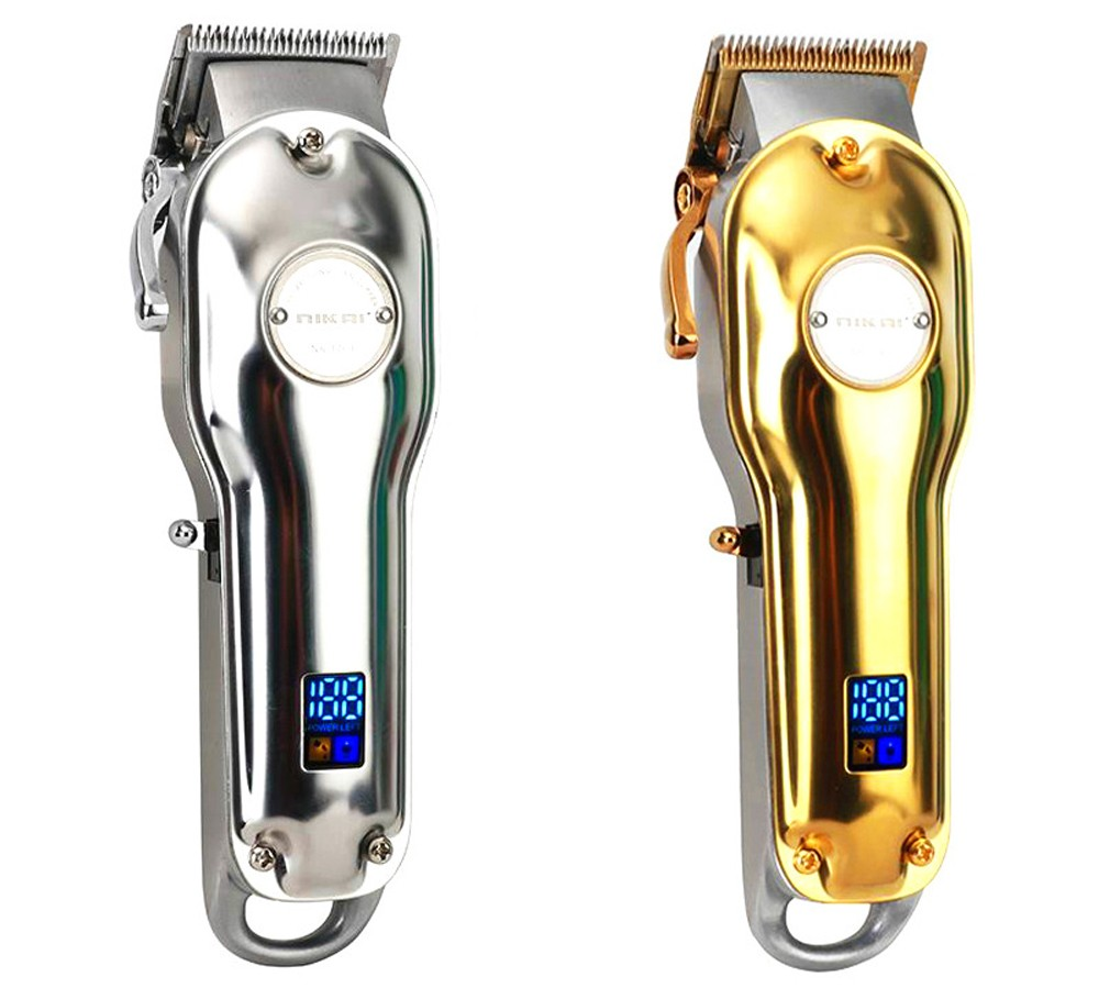 NK-1769 USB Digital Display Metal Electric Hair Clipper Barber Shop Professional Salon Rechargeable Hair Trimmer - Golden