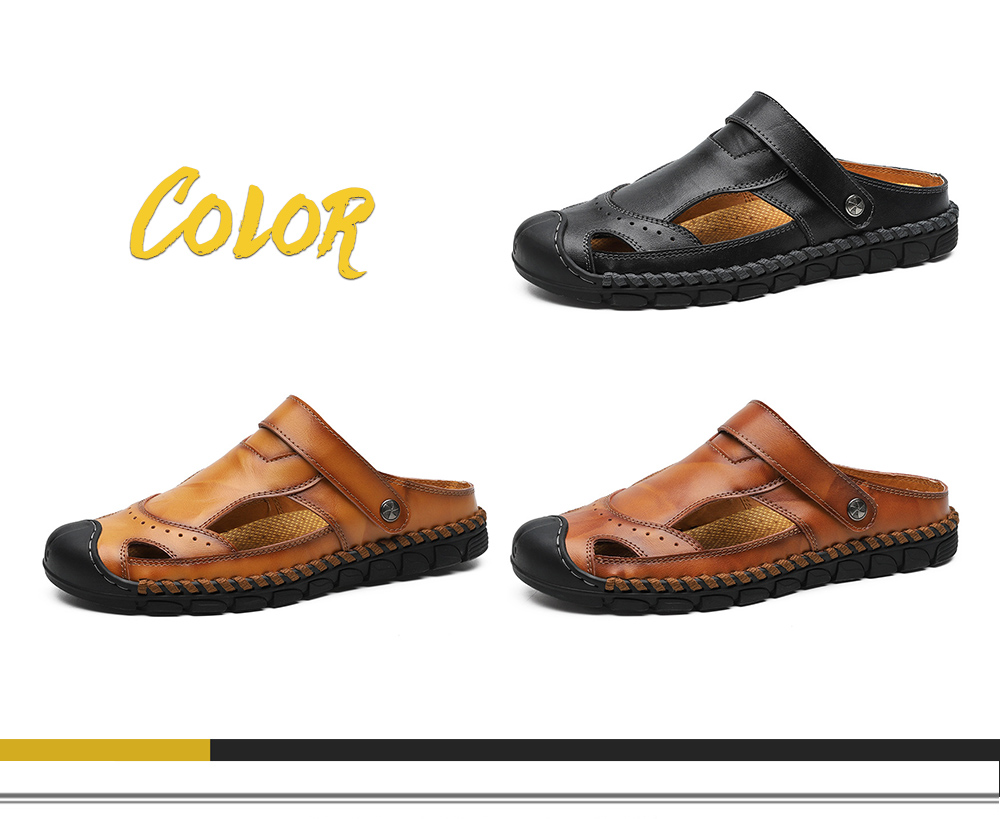 Slipper Male Summer Men's Sandals Breathable Casual Leather Sandals Dual-use Summer Camp Sandal Shoes - Red-brown 41