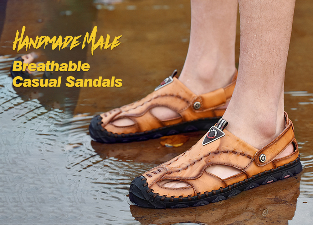 Handmade Male Breathable Casual Sandals - Light Brown 40