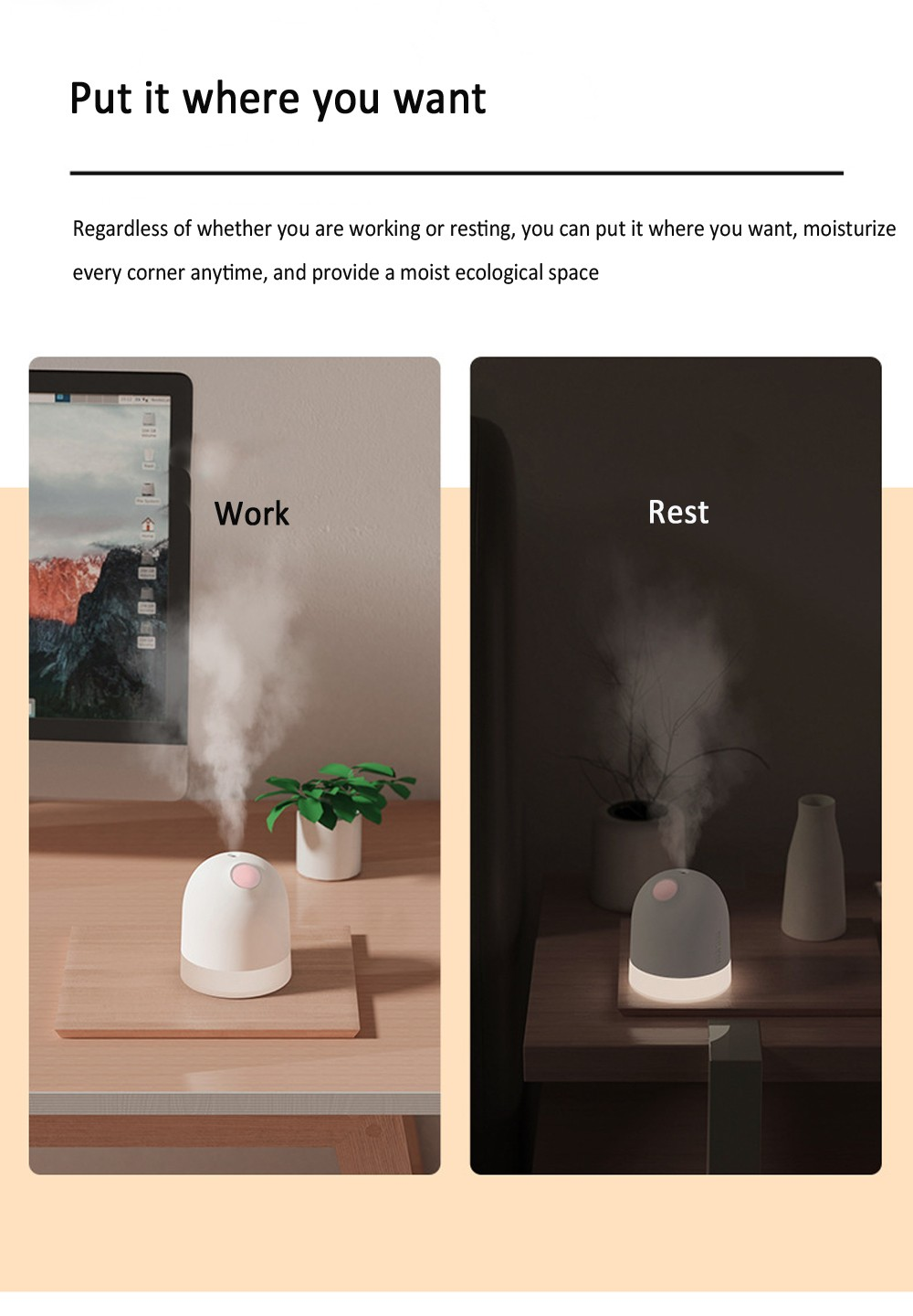 Y20 Mole USB Humidifier Mini Small Large Spray Desktop Car Home Humidifier 360ml - White